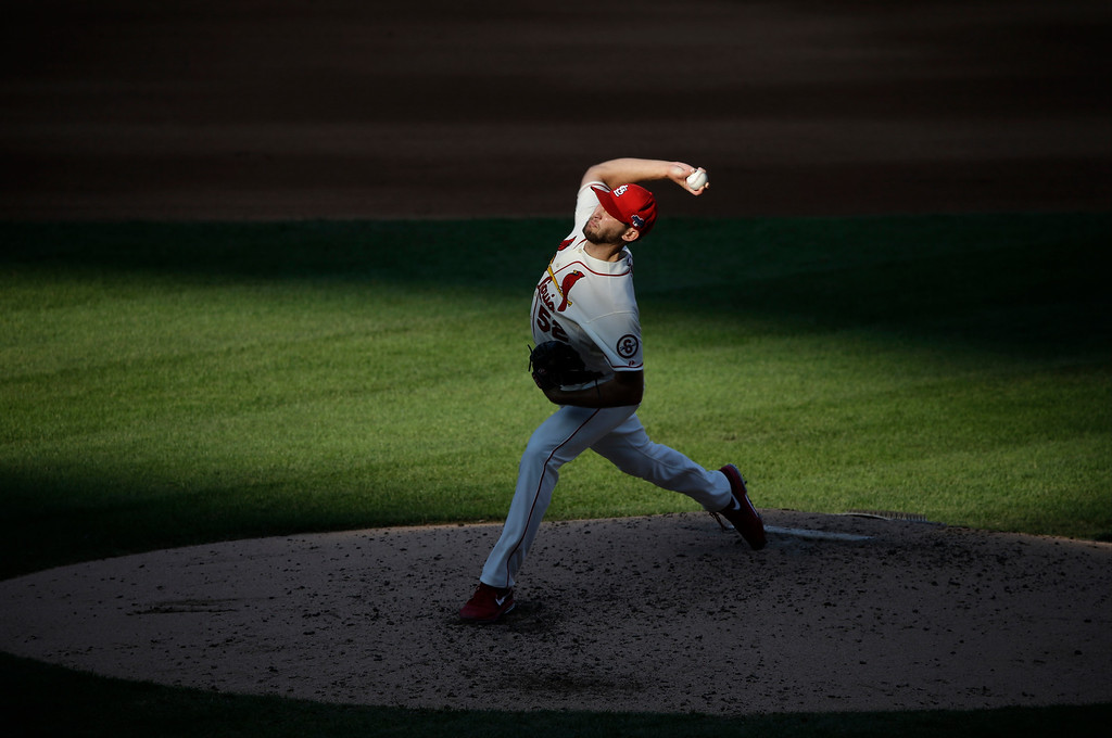 . St. Louis Cardinals starting pitcher Michael Wacha throws during the fifth inning of Game 2 of the National League baseball championship series against the Los Angeles Dodgers Saturday, Oct. 12, 2013, in St. Louis. (AP Photo/Charlie Neibergall)