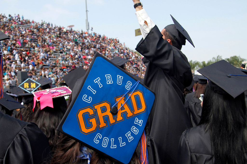 . Graduates during the Citrus College 97th Commencement Ceremony, at Citrus College Stadium, in Glendora, Saturday, June 15, 2013.  (James Carbone/Special to the San Gabriel Valley Tribune)