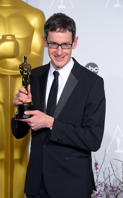 ". Steven Price accept the Award for ""Original Score\"" for the film Gravity,  backstage at the 86th Academy Awards at the Dolby Theatre in Hollywood, California on Sunday March 2, 2014 (Photo by David Crane / Los Angeles Daily News)"