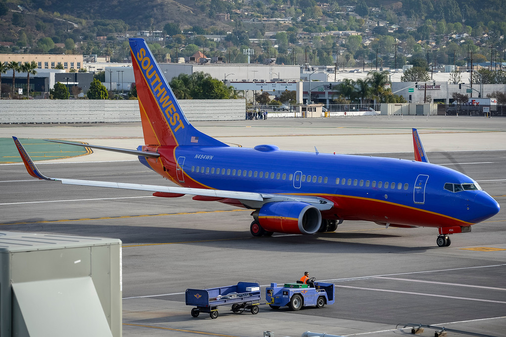 . A Southwest jet arrives at Bob Hope airport in Burbank, CA Tuesday, March 11, 2014.  (Photo by David Crane/Los Angeles Daily News)