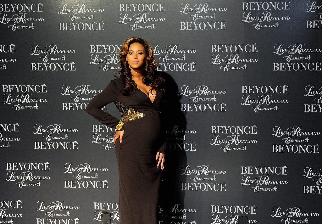 """. Singer Beyonce hosts the screening of \""""Live at Roseland: The Elements of 4\"""" at the Paris Theatre on November 20, 2011 in New York City.  (Photo by Jemal Countess/Getty Images)"""