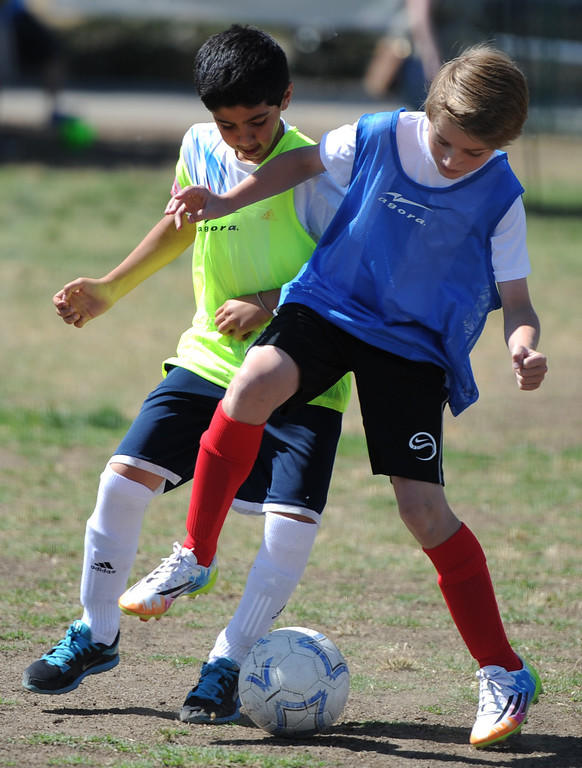 """. Dariush Dahesh and Evan Pritchard battle for control of the ball. In honor of the AYSO\'s 50th anniversary as the nation�s most active and open youth soccer organization, kids at Balboa Park in Encino will join efforts around the country Saturday--over 500,000 players,125,000 volunteers,100 community-based events and a national soccer festival--to set a world record for the \""""largest pickup game on Earth.\"""" Encino, CA. 5/3/2014(Photo by John McCoy / Los Angeles Daily News)"""