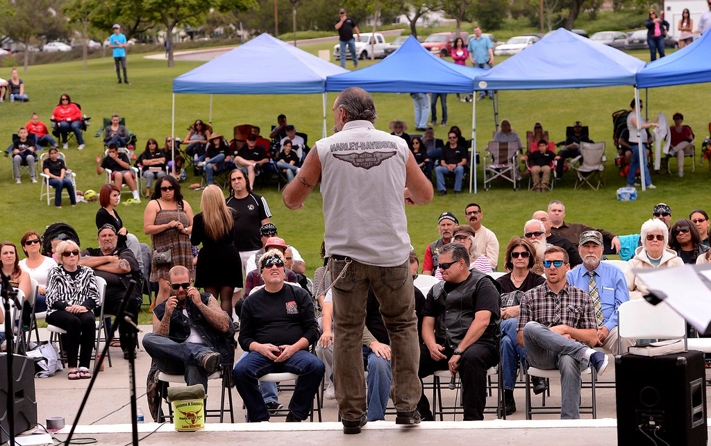""". �I\'m a man that carries a message of hope, that Jesus Christ changed my life,\""""  said Sam Childers to a crowd during the Lifepoint Church\'s Picnic at Red Hill Community Park in Rancho Cucamonga May 5, 2013. \""""And if He can change me, imagine what He can do in your life. Give Him a chance.\"""" GABRIEL LUIS ACOSTA/STAFF PHOTOGRAPHER."""