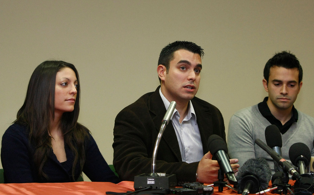 . From left, Stephanie Kercher, sister, John Kercher, brother, and Lyle Kercher, brother of slain British student Meredith Kercher meet the journalists during a press conference  in Perugia, Italy, Saturday, Dec. 5, 2009.  A jury in Italy convicted Amanda Knox of murdering her British roommate Meredith Kercher and sentenced her to 26 years in prison. The court also convicted Knox\'s co-defendant and former boyfriend, Italian Raffaele Sollecito, and gave him a 25-year jail. (AP Photo/Pier Paolo Cito)
