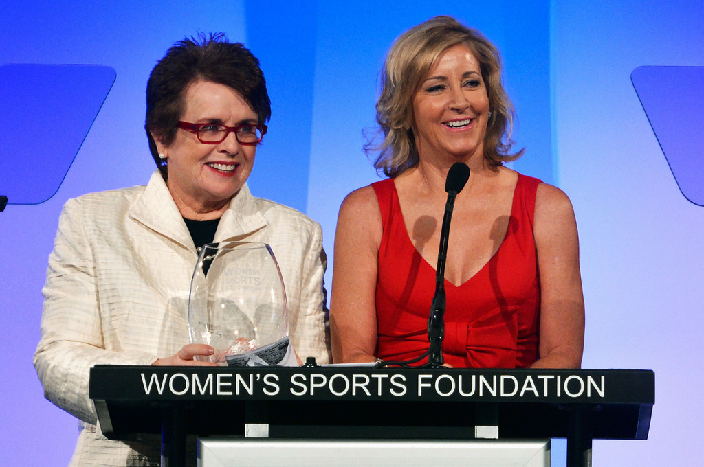 . NEW YORK, NY - OCTOBER 17:  Billie Jean King (L) and Christine \'Chris\' Evert speak onstage at the 33rd annual Salute To Women In Sports Gala at Cipriani Wall Street on October 17, 2012 in New York City.  (Photo by Mike Coppola/Getty Images)