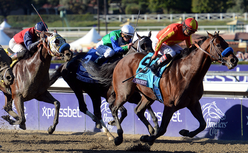 ". Jockey Martin Garcia atop ""Secret Circle\"" (9) wins the Xpressbet Breeders\' Cup Sprint in the tenth race during the Breeders\' Cup at Santa Anita Park in Arcadia, Calif., on Saturday, Nov. 2, 2013.    (Keith Birmingham Pasadena Star-News)"