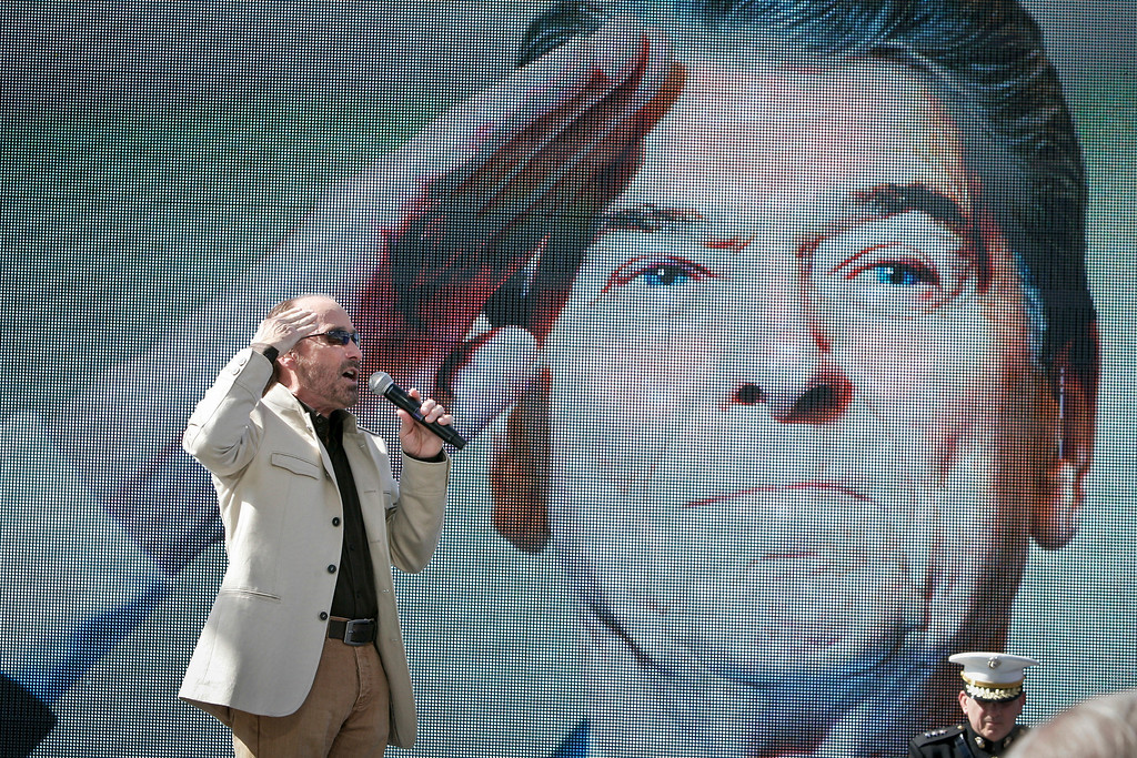 """. Singer Lee Greenwood sings \""""God Bless the USA\""""  at the 100 birthday celebration of President Ronald Reagan at the Reagan Library in Simi Valley, CA Sunday, February 6, 2011.    (Photo by David Crane/Los Angeles Daily News)"""
