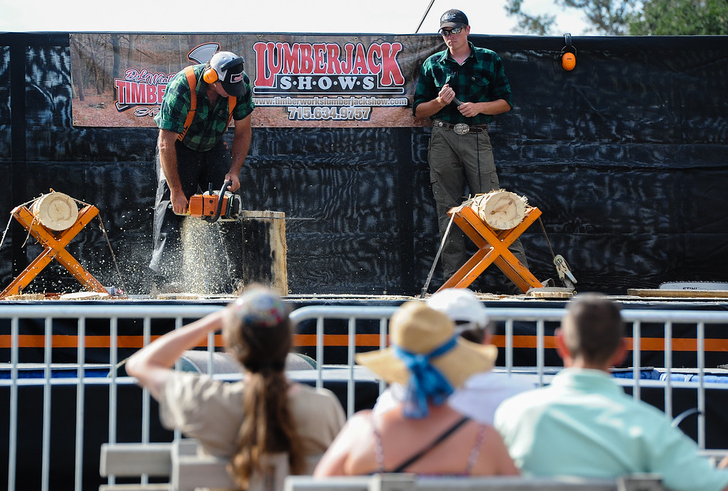 . Chainsaw carving demonstrations entertain fair-goers at the 91st annual Los Angeles County Fair in Pomona on Sept. 2, 2013. The fair will run through September 29. (Rachel Luna / San Bernardino Sun)