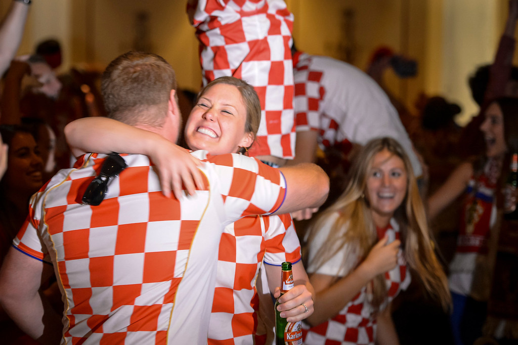 . Croatian fans rejoice as their team scores a goal during the soccer match between Brazil and Croatia.  Croatian fans gathered at St. Anthony Croatian Catholic Church in Los Angeles for the match which was the first one of the world cup.   ( Photo by David Crane/Los Angeles Daily News )