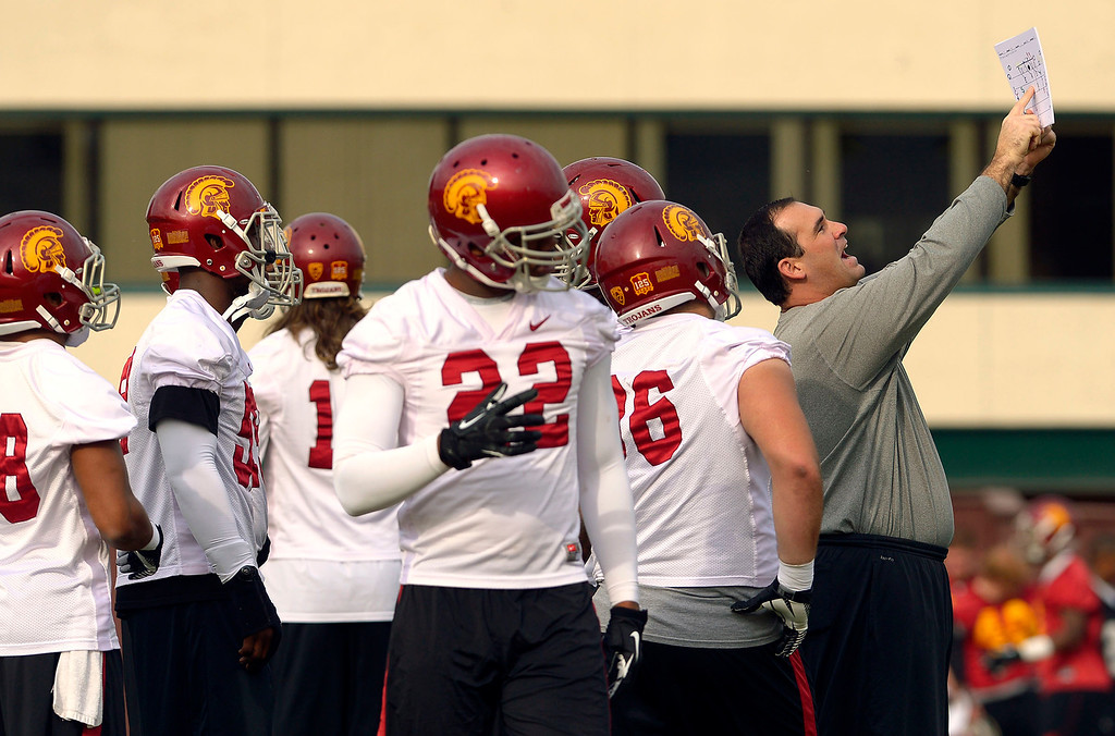 . The USC football team held its final practice of the 2013 season December 18, 2013 in Los Angeles, CA.  The team flies to Las Vegas to play Fresno State in the Las Vegas Bowl on December 21, 2013.(Andy Holzman/Los Angeles Daily News)