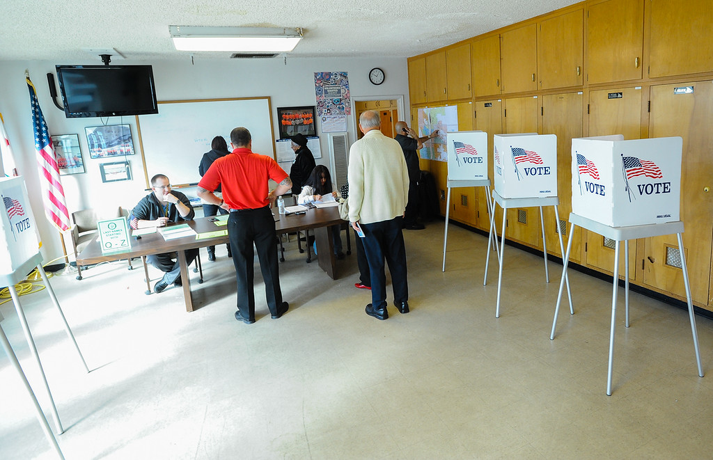 . San Bernardino residents cast their votes in the city\'s general and special municipal election at the San Bernardino Mountain Search and Rescue polling location on Tuesday, Feb. 4, 2014. (Photo by Rachel Luna / San Bernardino Sun)