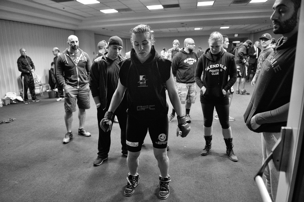 . Marina Shafir prepares to walk to the ring during her  professional debut at  Chaos at the Casino 4 at Hollywood Park Casino in Inglewood, CA. (Photo by Hans Gutknecht/Los Angeles Daily News)