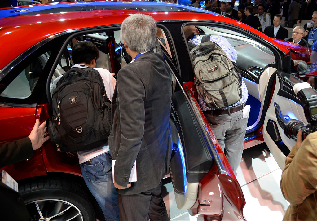 . Nov 20,2013 Los Angeles CA. USA. The media swarm the new Ford EDGE concept on display during the 2013 Los Angeles Auto Show. Photo by Gene Blevins/LA Daily News
