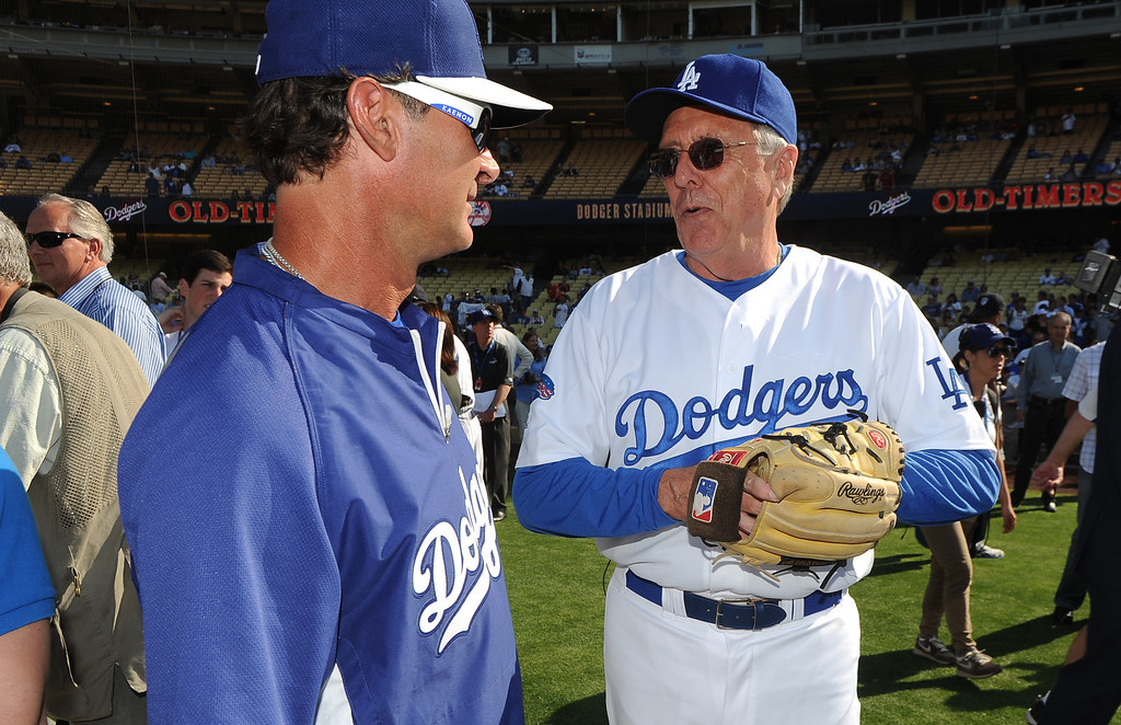. Los Angeles Dodgers manager Don Mattingly, left, with former Los Angeles Dodgers Rick Monday during the Old-Timers game prior to a baseball game between the Atlanta Braves and the Los Angeles Dodgers on Saturday, June 8, 2013 in Los Angeles.   (Keith Birmingham/Pasadena Star-News)