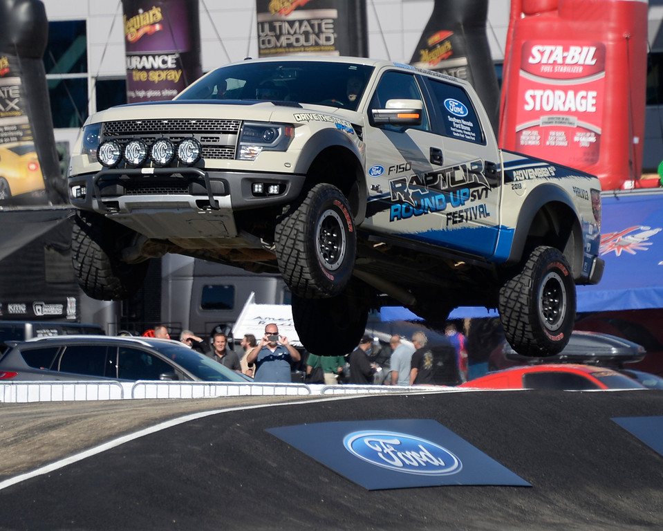 . Nov 5,2013 Las Vegas NV. USA. FORD gives free off-road test drives in their new 2014 Raptor F-150 trucks during the first day of the 2013 SEMA auto show. (Photo by Gene Blevins/LA Daily News)
