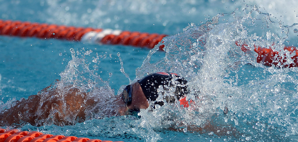 . Grace Brethren\'s Olivia Hynes wins the 100 freestyle during the Division 4 CIF Southern Section Swimming Championships in the Riverside Aquatics Complex at Riverside City College in Riverside, Calif., on Friday, May 16, 2014.  (Keith Birmingham/Pasadena Star-News)