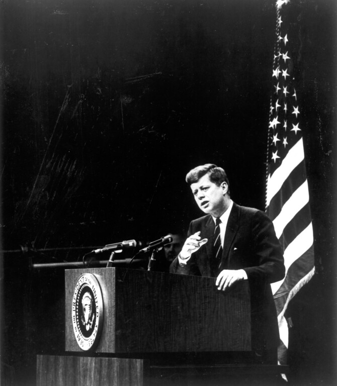 . The President during a February, 1961 press conference.   Los Angeles Daily News file photo