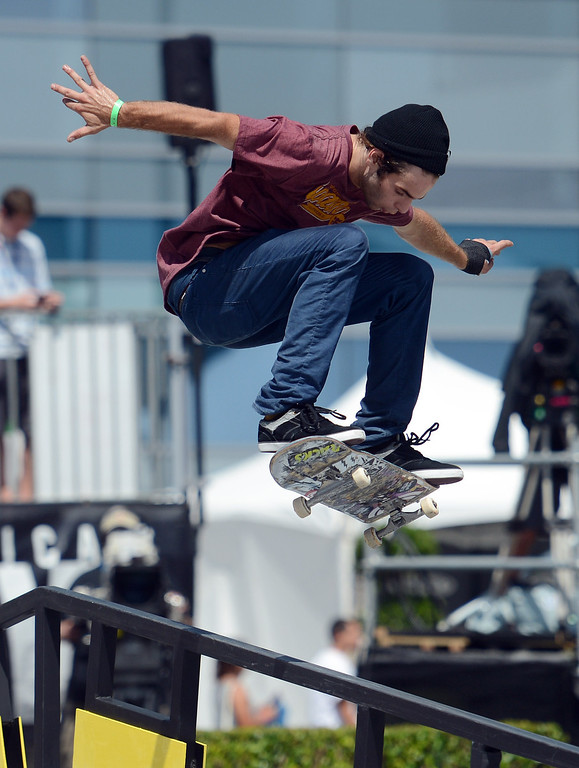 . Jonathan Cosentino during the  X Games Los Angeles Red Bull Phenom Skateboard Street at LA Live Friday, August 2, 2013. (Hans Gutknecht/Los Angeles Daily News)