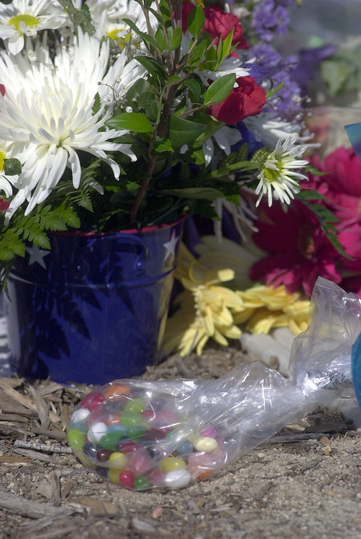 . 6/05/04--Simi Valley-Reagan fans from all over the Southland pay tribute placing flowers and even jellybeans, President Reagan\'s favorite snack. The 40th president of the United States died early Saturday morning from complications of Alzheimer\'s Disease.   (Los Angeles Daily News file photo)
