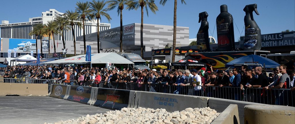 . Nov 5,2013 Las Vegas NV. USA. A estimated crowd of 150,000 attend during the first day of the 2013 SEMA auto show.