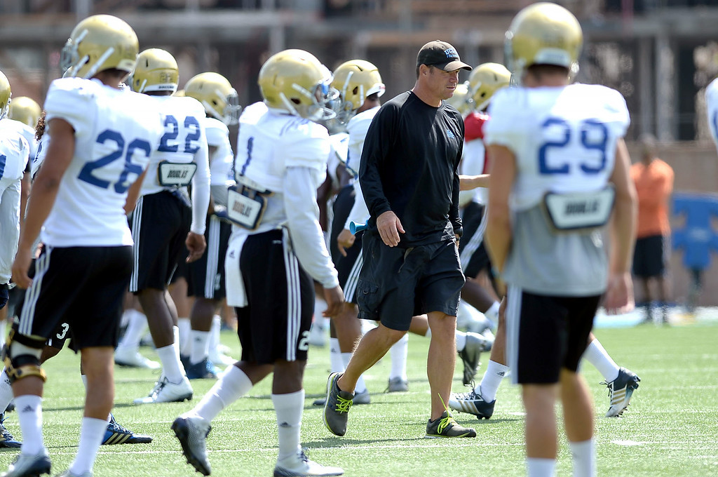 . UCLA head coach Jim Mora during practice at Spaulding Field Friday, August 22, 2014.(Andy Holzman/Daily News Staff Photographer)