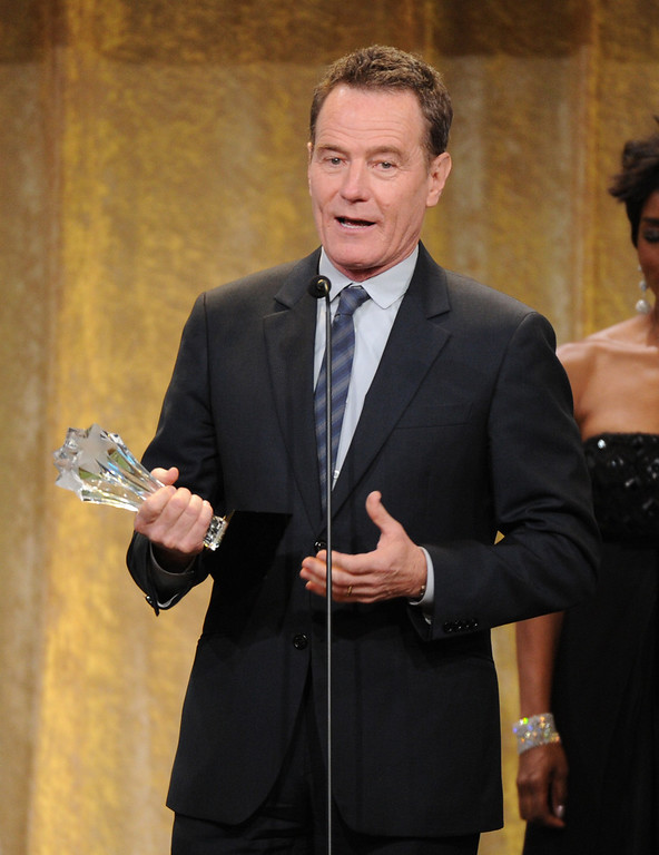". Actor Bryan Cranston accepts the award for best actor in a drama series or ""Breaking Bad\"" at the Critics\' Choice Television Awards in the Beverly Hilton Hotel on Monday, June 10, 2013, in Beverly Hills, Calif. (Photo by Frank Micelotta/Invision/AP)"
