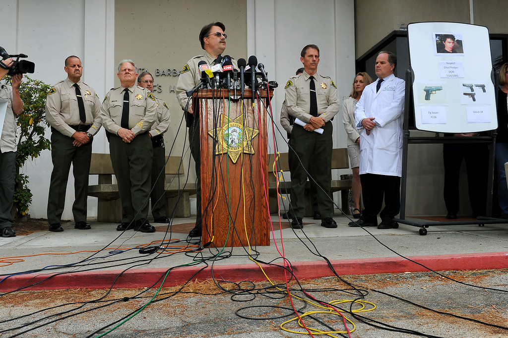 . Santa Barbara County Sheriff Bill Brown speaks during a press conference, Saturday, May 24, 2014, about the shootings Friday night in Isla Vista that left seven people dead. (Photo by Michael Owen Baker/Los Angeles Daily News)