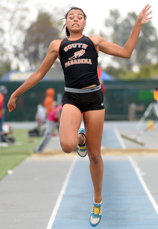 . South Pasadena\'s Jazmin Jackmon competes in the Division 3 long jump during the CIF Southern Section track and final Championships at Cerritos College in Norwalk, Calif., on Saturday, May 24, 2014. 