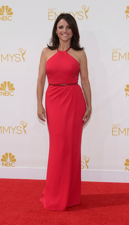 . Julia Louis-Dreyfus on the red carpet at the 66th Primetime Emmy Awards show at the Nokia Theatre in Los Angeles, California on Monday August 25, 2014. (Photo by John McCoy / Los Angeles Daily News)