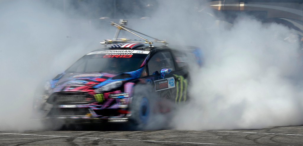 . Nov 5, 2013 Las Vegas NV. USA. Ford gives free rides in their 2014 Fiesta with monster driver Ken Block, during the first day of the 2013 SEMA auto show. (Photo by Gene Blevins/LA Daily News)