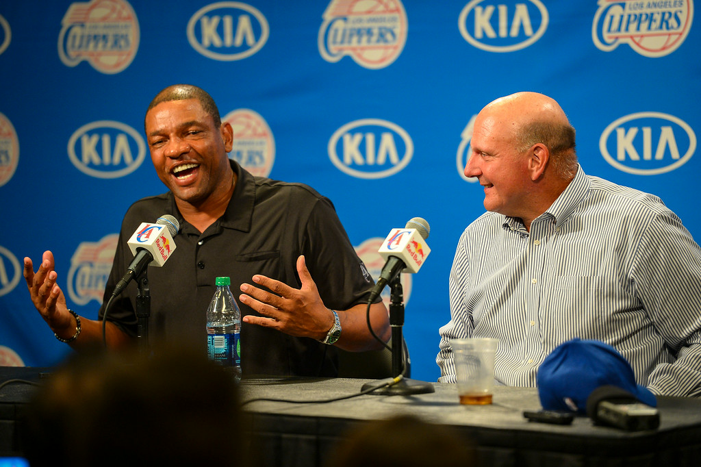 . Coach Doc Rivers and New Clippers owner Steve Ballmer speak to the media at a press conference at Staples Center Monday August 18, 2014.  ( Photo by David Crane/Los Angeles Daily News )