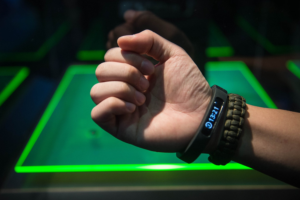 . Jun Shen Chia wears the Razer smartband during Electronic Entertainment Expo in Los Angeles on Tuesday, June 10, 2014. (Photo by Watchara Phomicinda)