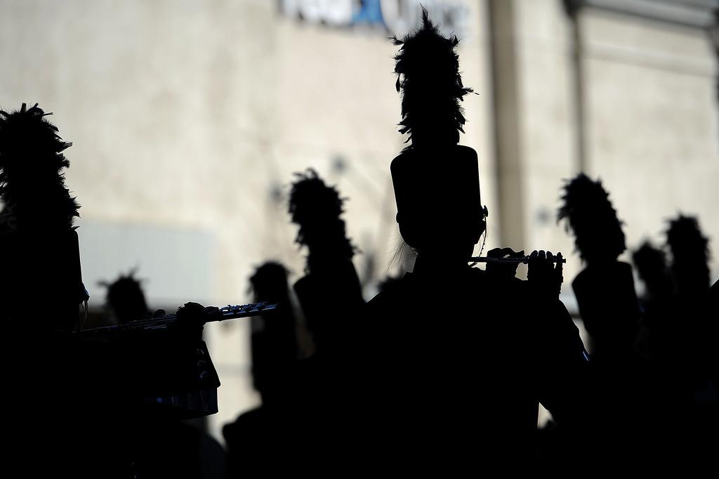 . A marching band makes their way down Colorado Blvd. during the 2014 Rose Parade in Pasadena, CA January 1, 2014.(Andy Holzman/Los Angeles Daily News)