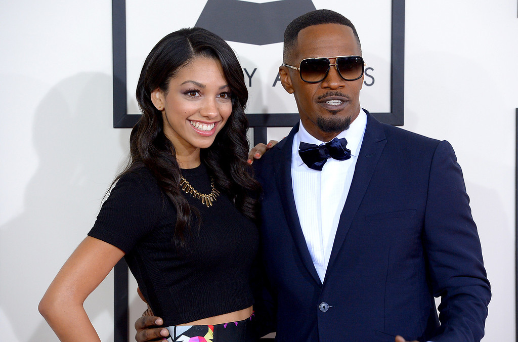 . Jamie Foxx and guest arrive at the 56th Annual GRAMMY Awards at Staples Center in Los Angeles, California on Sunday January 26, 2014 (Photo by David Crane / Los Angeles Daily News)