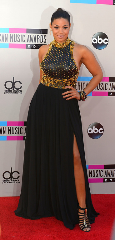 . Jordin Sparks arrives to the American Music Awards  at the Nokia Theatre in Los Angeles, California on Sunday November 24, 2013 (Photo by Andy Holzman / Los Angeles Daily News)