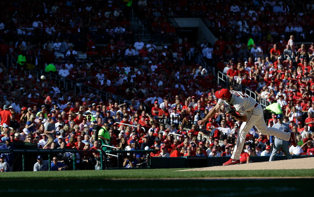 . St. Louis Cardinals starting pitcher Michael Wacha throws during the first inning of Game 2 of the National League baseball championship series against the Los Angeles Dodgers Saturday, Oct. 12, 2013, in St. Louis. (AP Photo/Jeff Roberson)