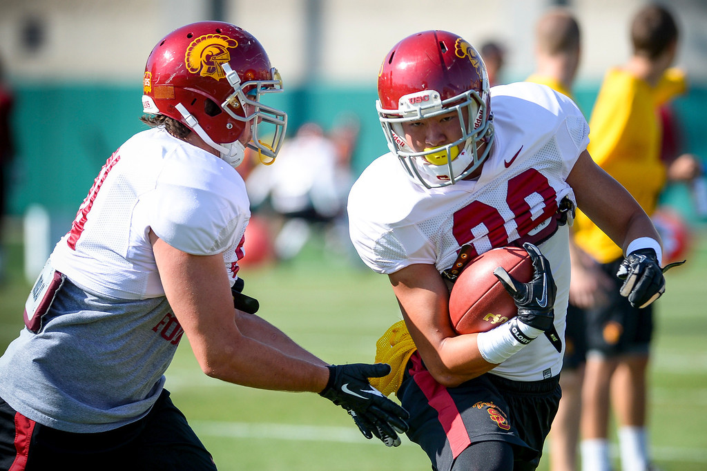 . USC�s D.J. Morgan runs a play during spring practice at USC Tuesday, April 15, 2014.  (Photo by David Crane/Los Angeles Daily News.)