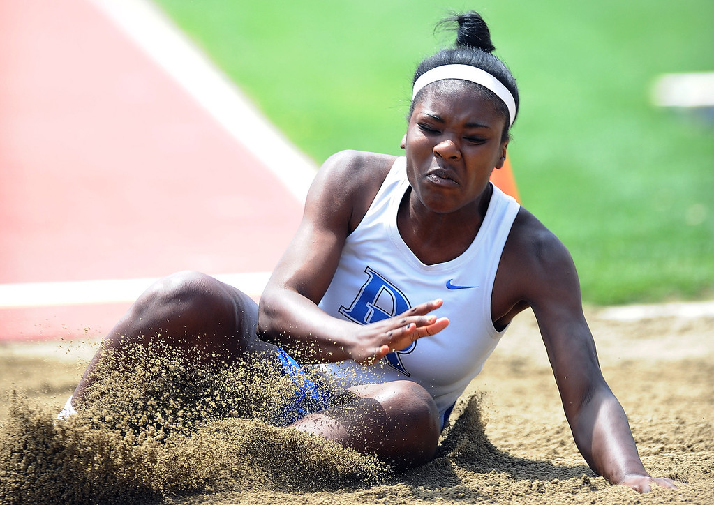 . Diamond Ranch\'s Beverly Ugoagu in the long jump during the CIF-SS track & Field championship finals in Hilmer Stadium on the campus of Mt. San Antonio College on Saturday, May 18, 2013 in Walnut, Calif.  (Keith Birmingham Pasadena Star-News)