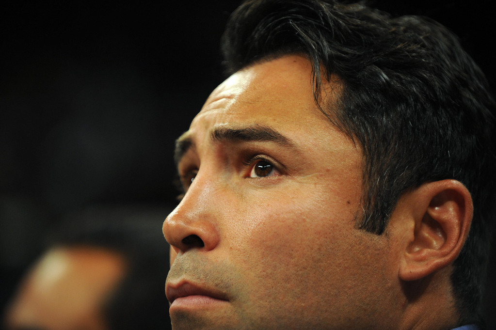 . Oscar De La Hoya attends the Junior Welterweight title fight between Manny Pacquiao of the Philippines and Ricky Hatton of England at the MGM Grand Garden Arena on May 2, 2009 in Las Vegas. Pacquiao stopped Hatton in the second round to match a boxing record by taking a title in his sixth different weight class.           (GABRIEL BOUYS/AFP/Getty Images)