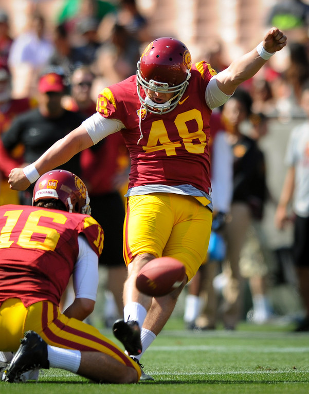 . USC kicker Andre Heidari boots a field goal at the spring game. (Photo by Michael Owen Baker/L.A. Daily News)