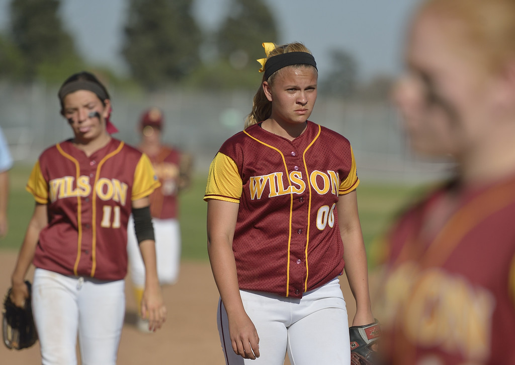 . LONG BEACH, CALIF. USA -- Wilson\'s Emma Marcil (00) during their 11 to 1 loss to Lakewood in Lakewood, Calif., on May 2, 2013.  Photo by Jeff Gritchen / Los Angeles Newspaper Group