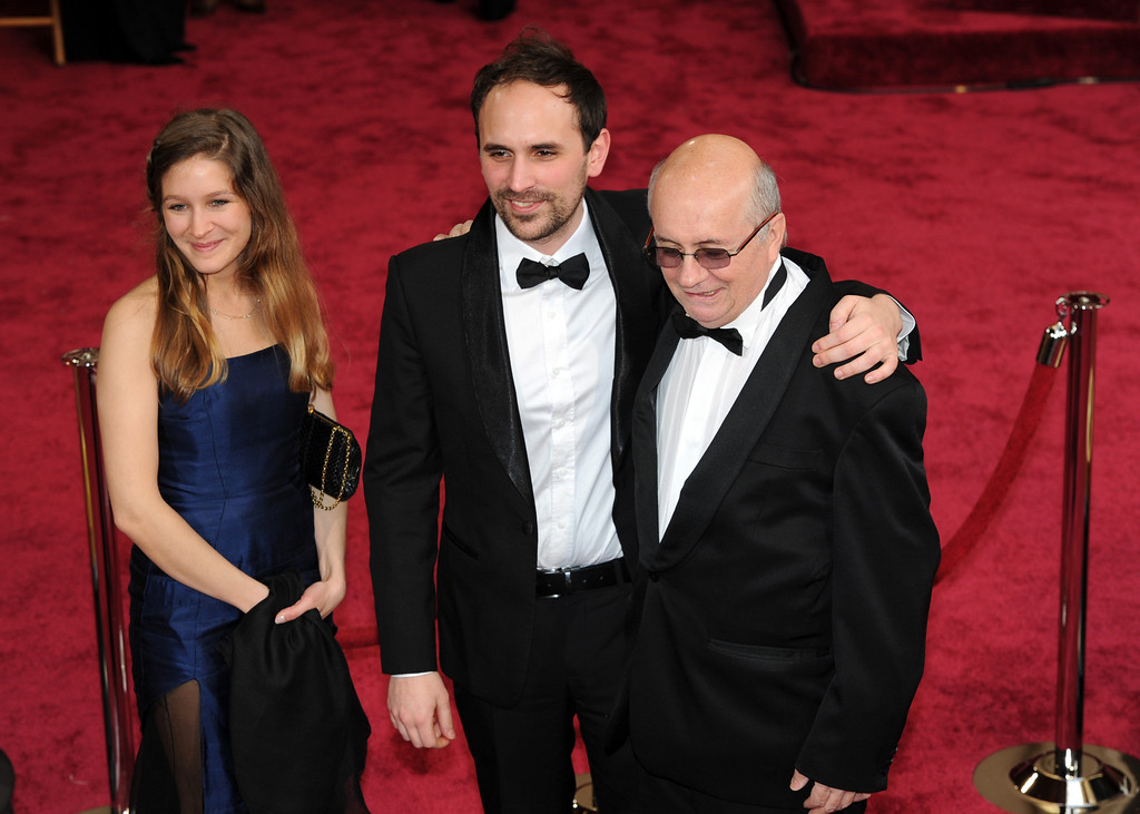 . Director Benjamin Renner (C), producer Didier Brunner (R) and guest  attends the 86th Academy Awards at the Dolby Theatre in Hollywood, California on Sunday March 2, 2014 (Photo by John McCoy / Los Angeles Daily News)