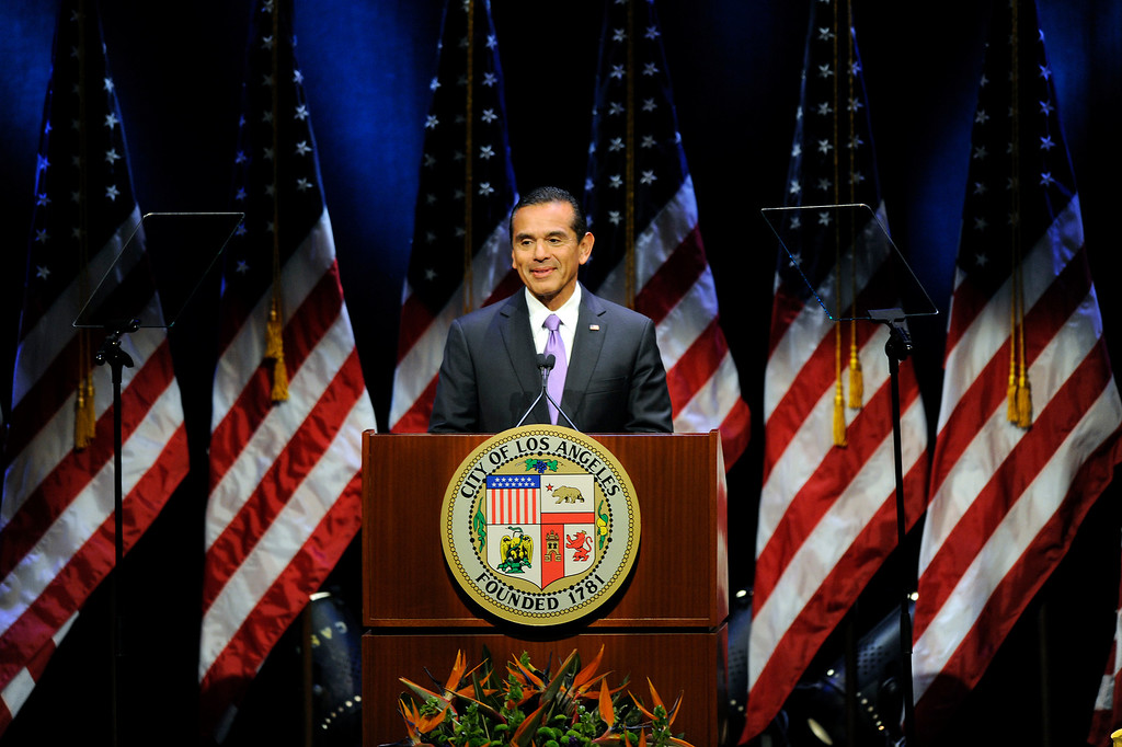 . Mayor Antonio Villaraigosa smiles at the applause before his State of the City address at UCLA, Tuesday, April 9, 2013. (Michael Owen Baker/L.A. Daily News)