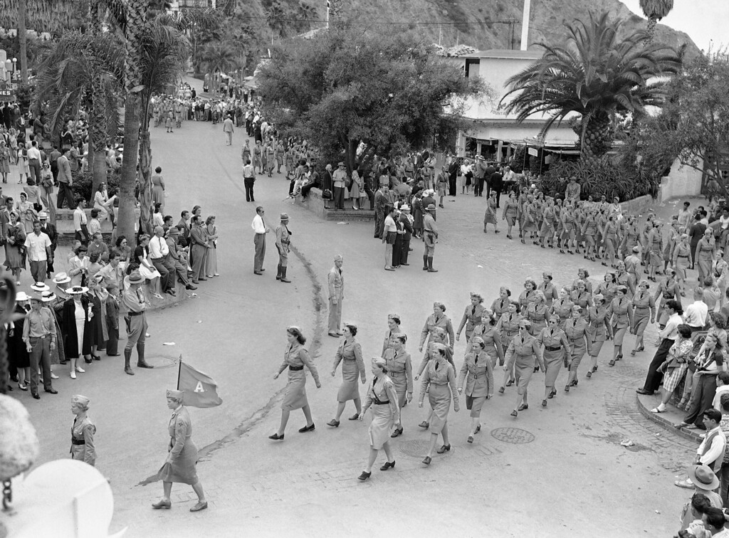 . Women�s Ambulance and Defense Corp of America parading through Avalon to Ball Park on Santa Catalina island, Calif., July 27, 1941. (AP Photo/Ed Widdis)