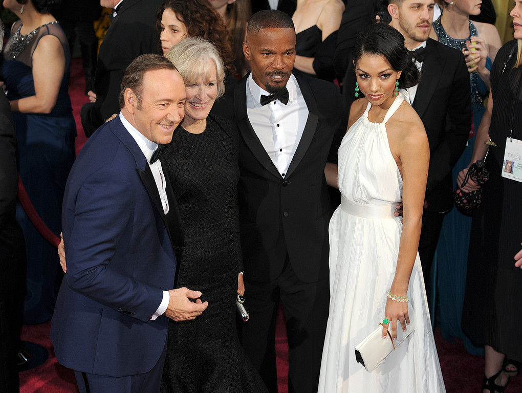 . Kevin Spacey, Glenn Close and Jamie Foxx and guest attend the 86th Academy Awards at the Dolby Theatre in Hollywood, California on Sunday March 2, 2014 (Photo by John McCoy / Los Angeles Daily News)