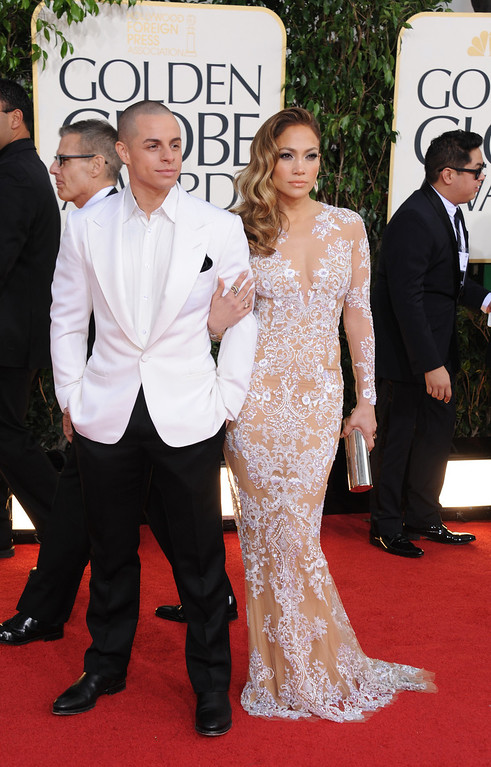 . Actors Casper Smart, left, and Jennifer Lopez arrive at the 70th Annual Golden Globe Awards at the Beverly Hilton Hotel on Sunday Jan. 13, 2013, in Beverly Hills, Calif. (Photo by Jordan Strauss/Invision/AP)