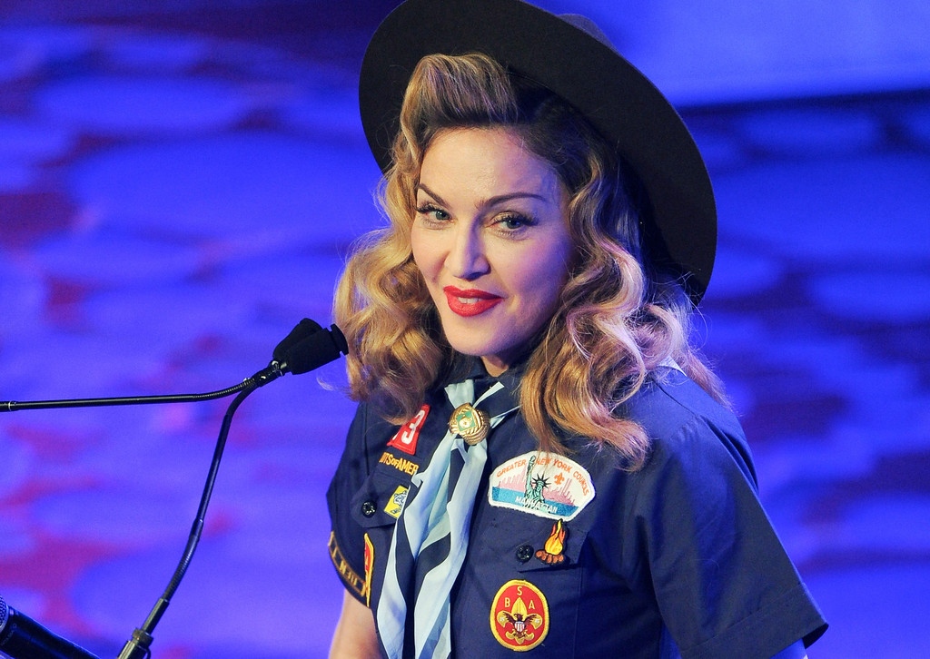 . Singer Madonna addresses the audience at the 24th Annual GLAAD Media Awards at the Marriott Marquis on Saturday March 16, 2013 in New York. Madonna presented CNN news anchor Anderson Cooper with the Vito Russo Award. (Photo by Evan Agostini/Invision/AP)