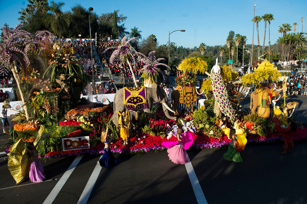 ". Dole ""Sunrise at the Oasis\"" during 2014 Rose Parade in Pasadena, Calif. on January 1, 2014. (Staff photo by Leo Jarzomb/ Pasadena Star-News)"
