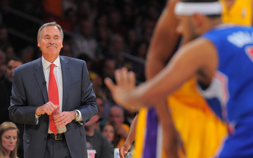 . Lakers coach Mike D\'Antoni watches the action in the NBA season opener between the Lakers and Clippers at Staples Center in Los Angeles, CA on Tuesday, October 29, 2013. 