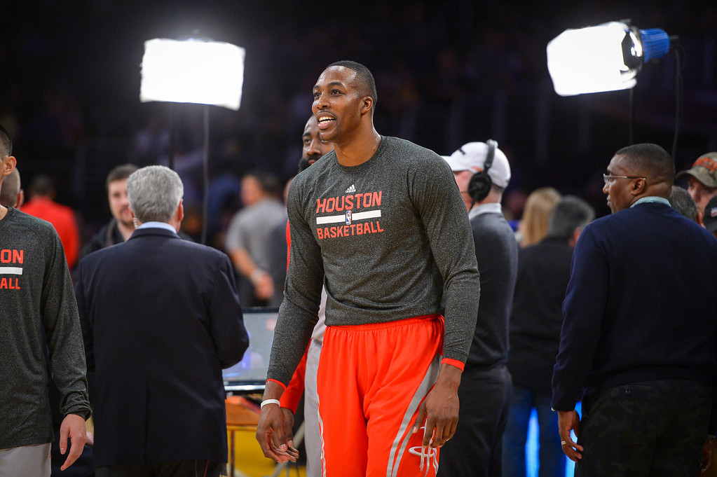 . Former Laker Dwight Howard is in the spotlight at the start of the game against the Lakers at Staples Center Wednesday, February 19, 2014.  The Rockets defeated the Lakers 134-108.  ( Photo by David Crane/Los Angeles Daily News )